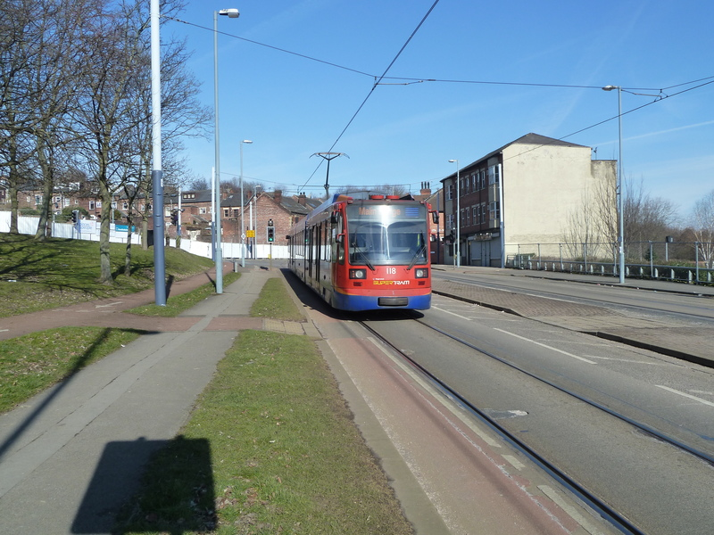 The tram network is about 50% on road in Sheffield