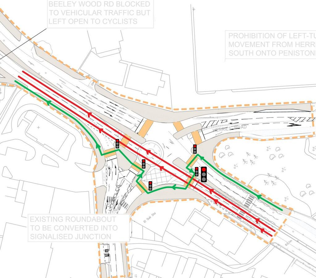 5 Signals for the bicycles and pedestrians, 1 for the cars Leppings Lane Roundabout Redesign