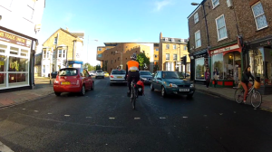 A frame from the Urban Cycling Guide DVD - You have to make your own space here