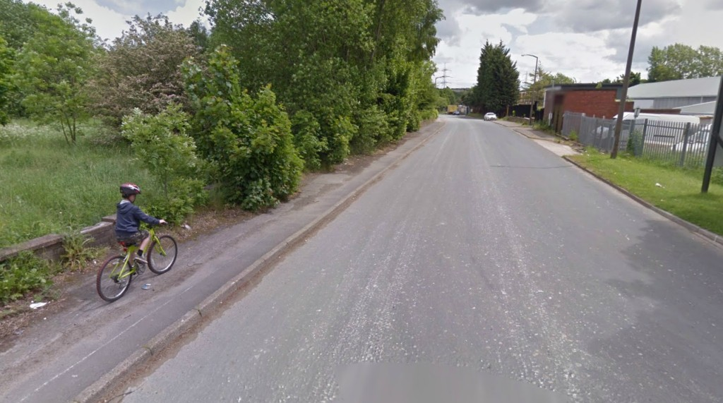 Clay Wheels Lane - This child has chosen to cycle on the footway.