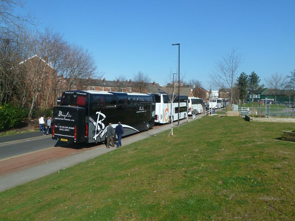 Coaches blocking Asline Road cycle track in Sheffield