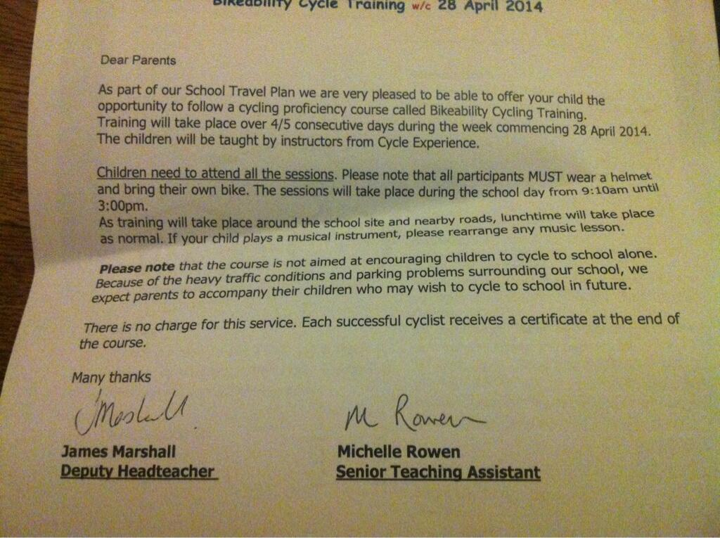 Letter to parents from Dobcroft Junior School in Sheffield, Please note that the course is not aimed at encouraging children to cycle to school alone. Because of the heavy traffic conditions and parking problems surrounding our school, we expect parents to accompany their children who may wish to cycle to school in future.