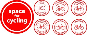Space for cycling logo and 6 demands
