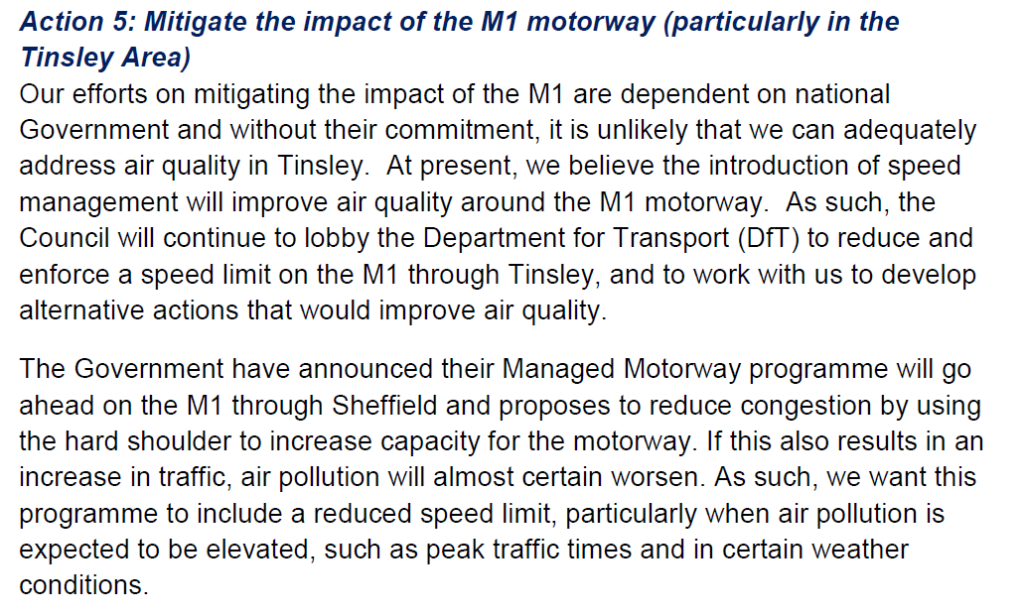 Sheffield Air Quality Action Plan on M1 Policy