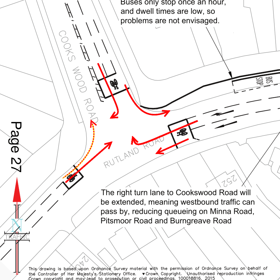 Cooks Wood Road/Rutland Road Junction. All cycle movements are shown and coloured according to their LCDS score.