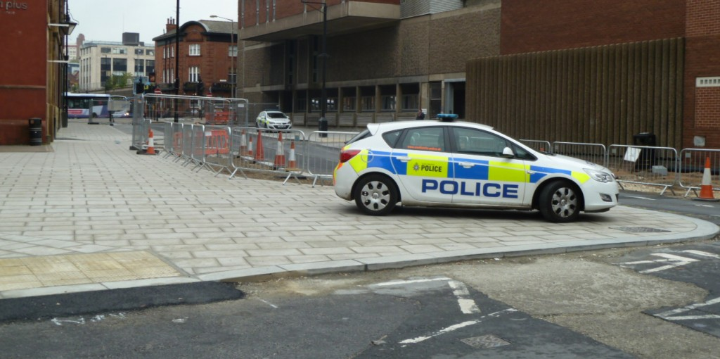 Even Sheffield Police park on the pavements. In this case, blocking a dropped kerb which they conveniently drove up.