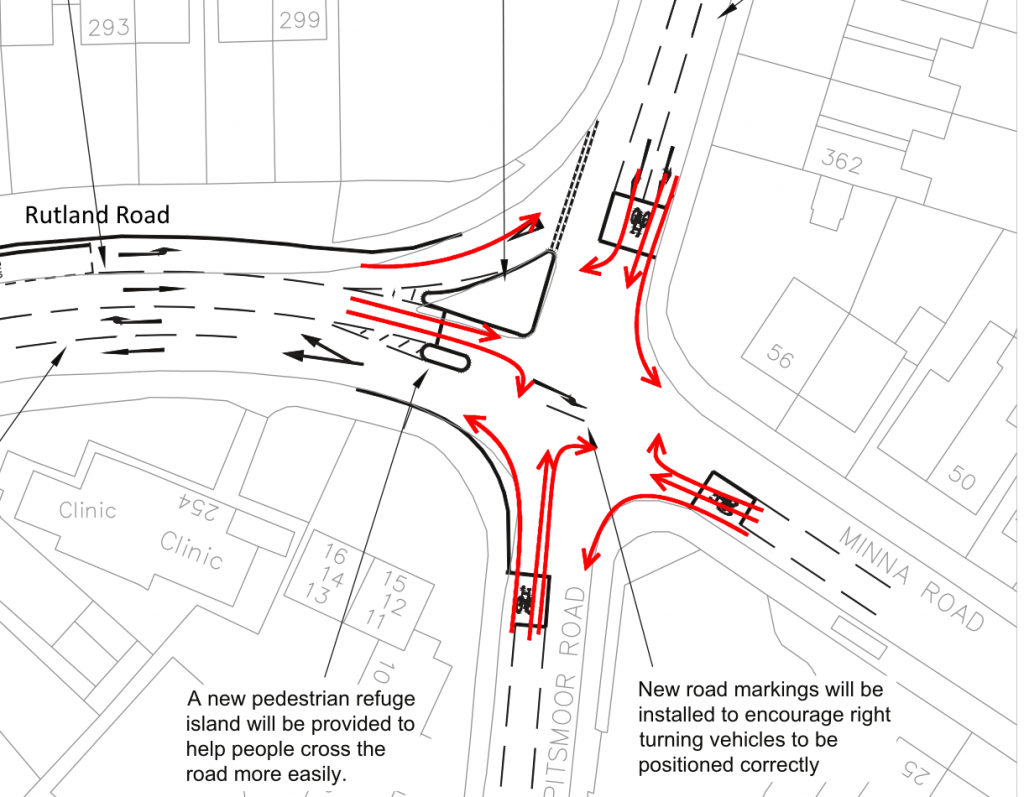 Rutland Road / Pitsmoor Road Crossroads. . All cycle movements are shown and coloured according to their LCDS score.