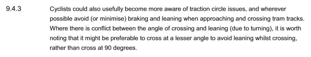 'Cyclists could also usefully become more aware of traction circle issues'
